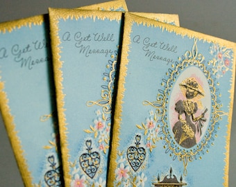 Three Vintage Victorian Get Well Cards by Sunshine