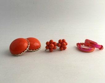 Lot of 3 Pairs of Vintage Orange Clip On Earrings   Circle Earrings   Cluster Earrings   Small Hoop Earrings