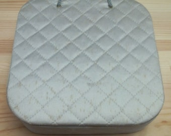 1940s quilted hosiery storage box