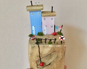 Quayside Cottages, driftwood artwork, driftwood sculpture, driftwood cottages, coastal decor, driftwood houses, made in Yorkshire, seaside
