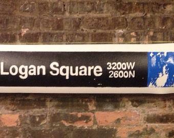 "Logan Square 'L' Sign (42""x9""), logan, square, L, sign, signs, cta, blue, chicago, subway, train, trains, frame, handmade, wall, art, wood"
