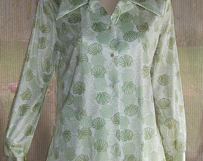 Vintage 70s Disco Graff Californiawear Green White Sea Shells Womens Long Sleeve Blouse Deadstock Original May Company Tags