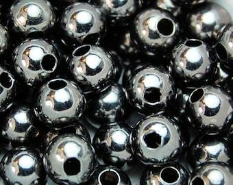 Gunmetal finish Beads, 8mm round 100