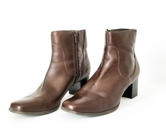 Women's brown leather ankle Boots - Dark brown zip up boots size 7.5M - Women's size 7.5 leather boots - Hipster boots - Boho boots