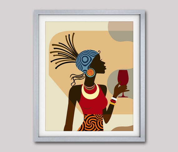 Afrocentric Decor, Black Woman Painting, African American Art, African wall Art, African Woman, African painting, African Decor, Afro Art