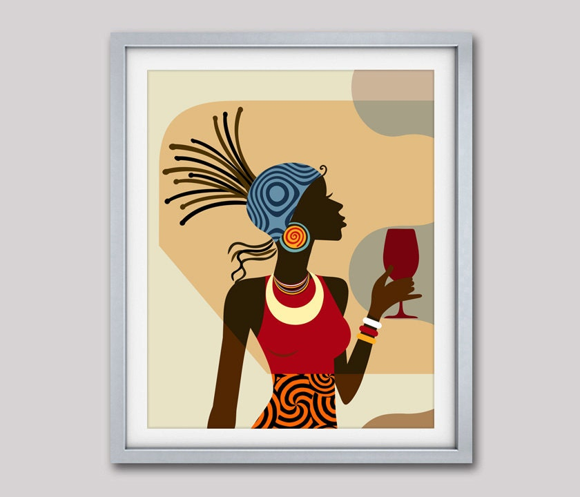 Afrocentric Decor, Black Woman Painting, African American Art ...
