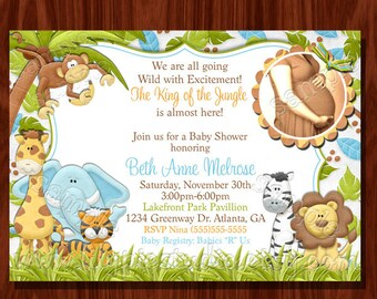 NEW Jungle Baby Shower Invitation Printable Digital File