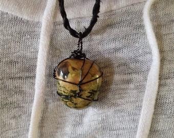 Jasper Necklace Mens - Brown Jasper Necklace - Mens Crystal Pendant - Mens Crystal Wrap Necklace - Gemstone Necklace - Mens Jewelry