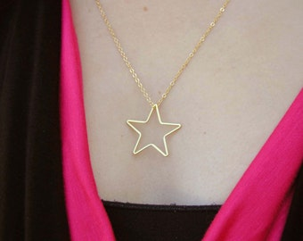 Gold star pendant etsy gold star necklace mozeypictures Gallery