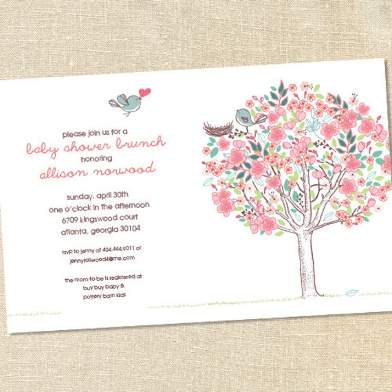 Sweet Wishes Love Birds Rustic Baby Shower Invitations