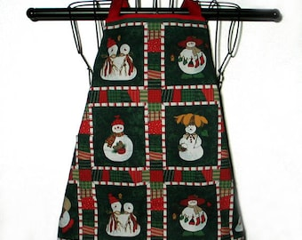 Childs Apron Snowmen 2T to 4T Reversible for Year Round Wear