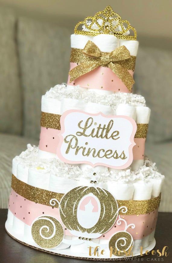 Princess Tiara Diaper Cake, Baby Girl Pink Gold Crown Royal Baby Shower  Diaper Cake, Baby Shower Decor Centerpiece, Baby Shower Gift, Set
