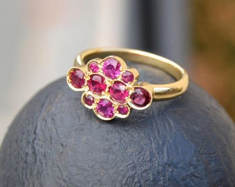 Ruby Ring, Yellow Gold Ruby Ring, Ruby Birthstone Ring, Antique Style Ruby Ring, Pave Set Ring, 14KT Yellow gold ring