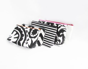 Set of Bridesmaid Clutches - with Embroidery - Personalized Make Up Bags - Bridesmaid gifts