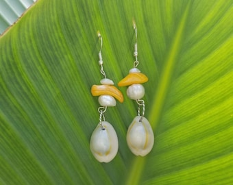 Silver Fishhook Earwires with Beached Shell and Yellow and White Shell Pieces
