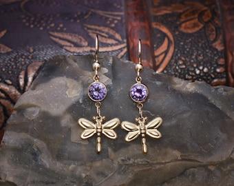 14k Gold Filled Dragonfly Earrings