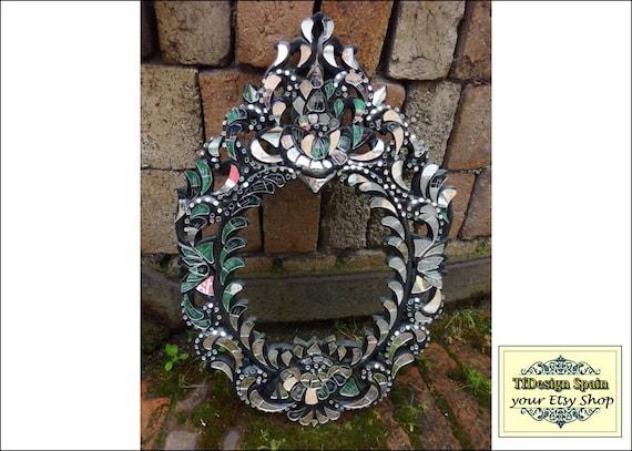 Marco con mosaico, Espejo mosaico cristales, Marco espejo negro, Marco de madera tallada, Mosaico de espejos, Mosaico espejos artesano
