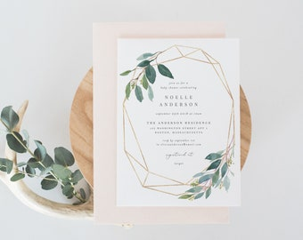 Editable Template - Instant Download Geometric Leafy Baby Shower Invitation