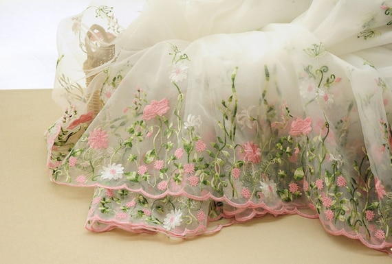 Pink floral lace fabric bilateral embroidered organza