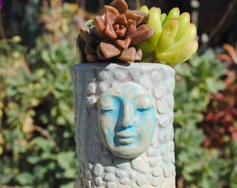 ceramic planter pot tiny garden buddha head vase