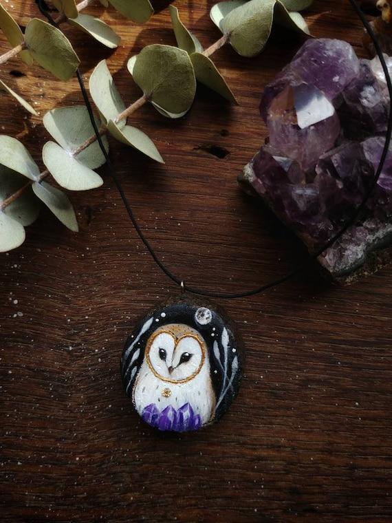 Owl pendant, owls painting, owl with moon, handmade, gift idea