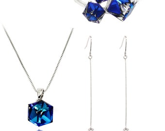 Blue Necklace Earrings Ring Trio