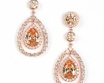Rose Gold Champagne Chandelier Drop Earrings Pear Drop Cocktail Earrings Perfect Gifts For Her