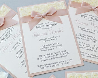 SHANIA- Rosette Bridal Shower Invitation - Ivory Rosette Lace with Pink Blush Ribbon - Baby Shower Invitation
