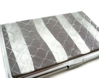 Business card holder or credit card storage gray and silver