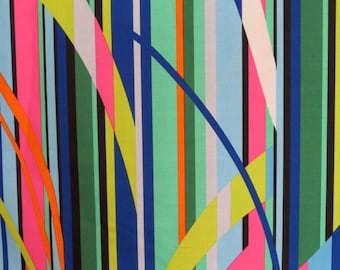 Royal and Hot Pink Fractured Stripe Print Pure Cotton Fabric from Michael Miller--One Yard
