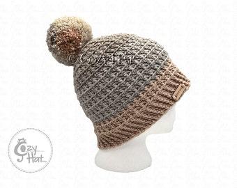 Ready to ship! Cozy Cake Beanie Hat. Hand Crochet Beanie. Size Medium Adult. Unisex