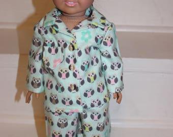 Doll Pajamas,18 inch doll Pajamas,Doll PJ's,Doll Clothes,Owl Doll Pajamas,Doll Sleepwear
