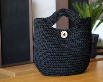 Black Crocheted ToTe Bag