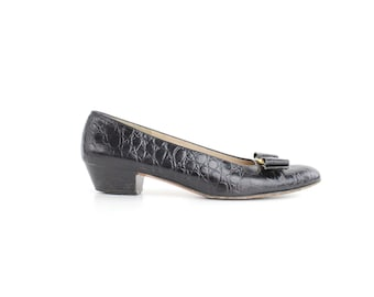 size 7 A4 | Salvatore Ferragamo Black Leather Shoes | Embossed Leather Vara Pumps | Leather Bow Slip-On Flats | 37.5