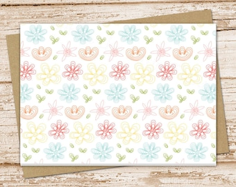 flowers note card set . floral notecards .  blank cards . girls, teens, cute . folded stationery . stationary . set of 6