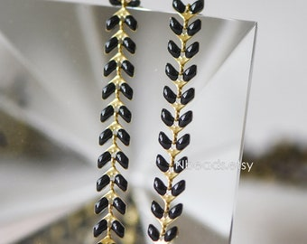 Black Enamel Brass Arrow Chain 6mm, Flat Chevron Chain, Herringbone Fish bone Designer Chain (#LK-048-10)/ 1 Meter=3.3ft