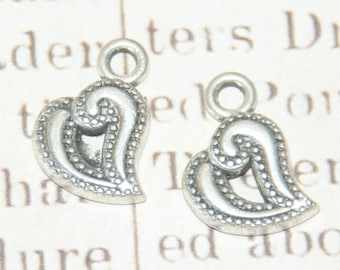 2 heart charms in antique silver 14x14mm