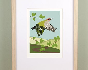 Green Woodpecker in Woodland Giclée Print - Limited Edition