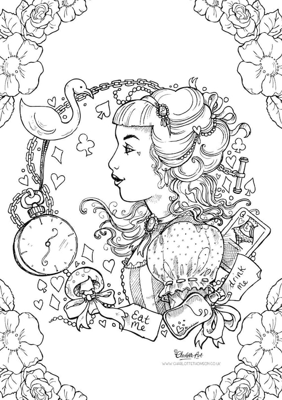 Adult colouring page alice in wonderland gothic lolita for Selling coloring pages on etsy