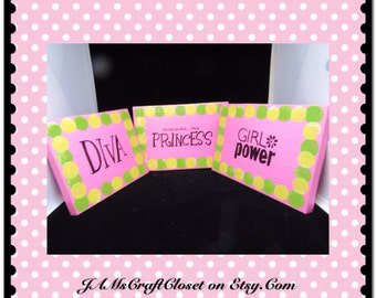 Sign Pink Wooden Princess Wall Hanging Handmade Hand Painted Unique One of a Kind Home Decor Wall Art Girl Power Gift Nursery DIVA Shower