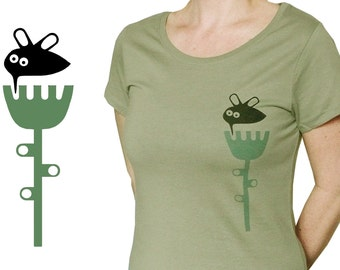 Colibri with flower, organic fairtrade t-shirt for women, screen printed by hand