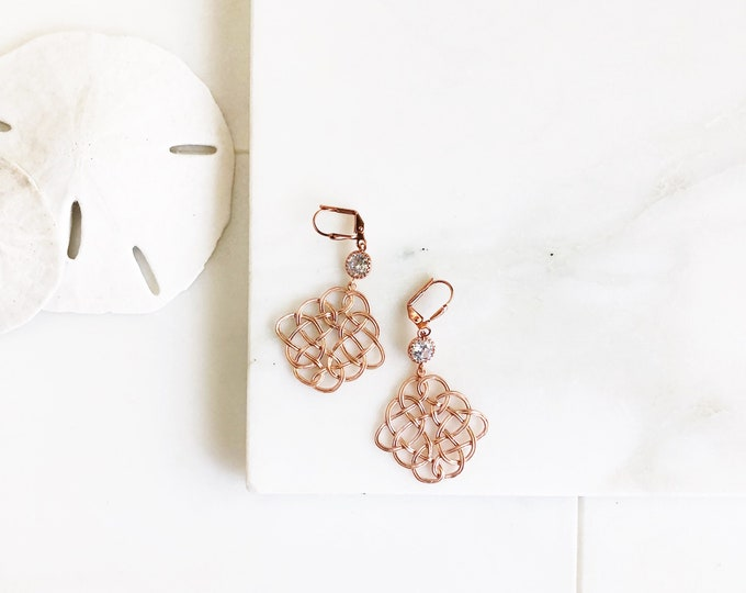 Rose Gold Chandelier Earrings.  Celtic Design Dangle Earrings.  Rose Gold Statement Earrings. Jewelry Gift.  Fashion Earrings. Chandelier.