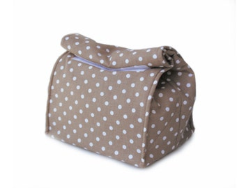 MTO Large Insulated lunch bag - Beige/polka dots