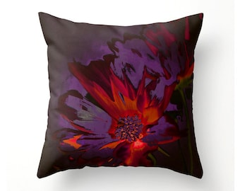 Elegant decorative throw pillow, hand painted flower design, scatter cushion, pillow cover, cushion cover, accent cushion, home decor