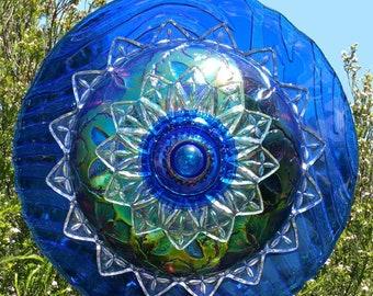 Butterfly Bloom, Iridescent Glass Flower Outdoor Decor, Yard Art, Glass Flowers, Glass Garden Art, Garden Art, Plate Flowers, LinMoonDesigns