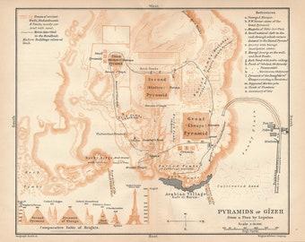 1908 Egyptian Pyramids (Pyramids of Giza) Antique Map