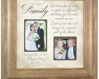 Personalized Wedding Frame, Parents of the Bride Gift, Parents of the Groom Gift, wedding gift photo frame, FAMILY 16x16