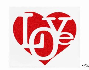 Love text fusible applique heart large red paillete