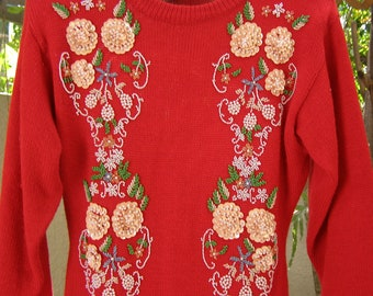 Women's Holiday Apparel, Vintage Christmas Sweater, Holiday Clothes for Women, 1980's Christmas Clothing