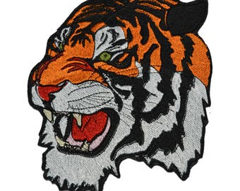 Tiger patch Embroidered patch Iron on patch Large patch Bag patch Patches for jackets Animal patch Various sizes and colors